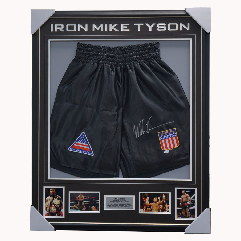 Mike Tyson Signed Trunks Collage Framed Official Private Signing - 1145