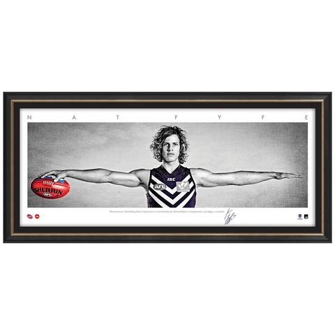 NAT FYFE SIGNED AFL OFFICIAL FREMANTLE MINI WINGS PRINT FRAMED 2015 BROWNLOW - 3151