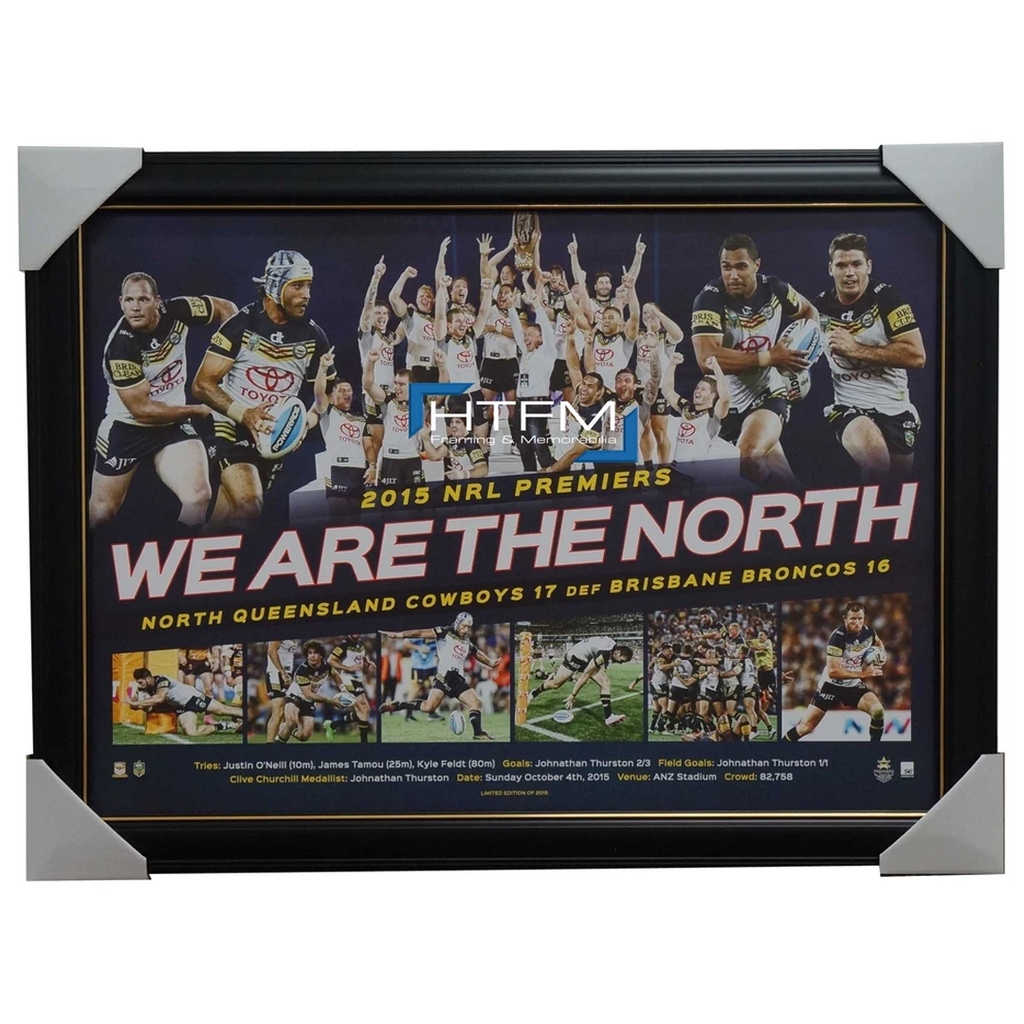 NORTH QUEENSLAND COWBOYS 2015 NRL PREMIERS FRAMED SPORTSPRINT - 2584