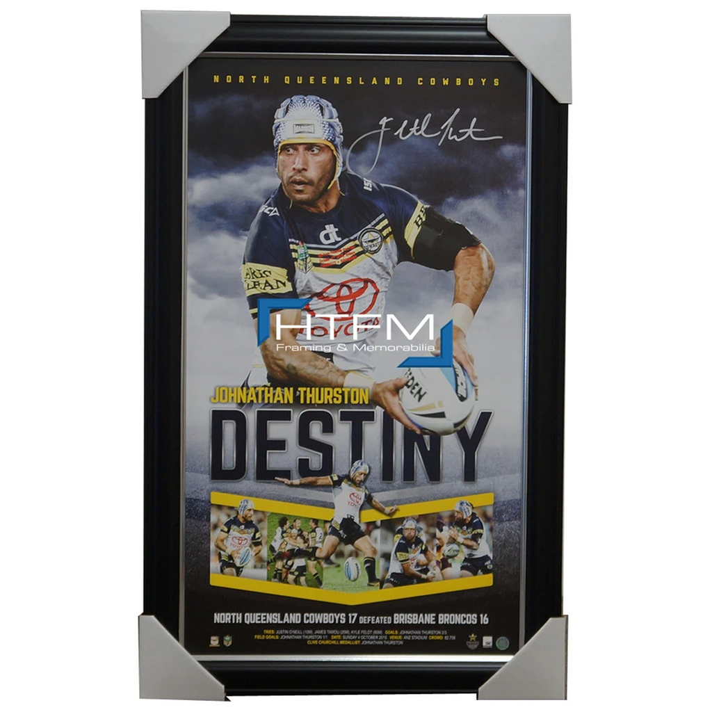 North Queensland Cowboys 2015 Nrl Premiers Signed Vertiramic Johnathan Thurston - 2583