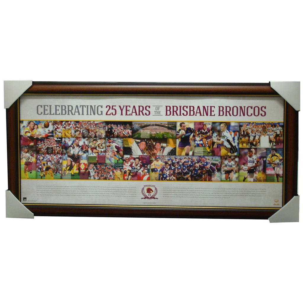 Nrl Brisbane Broncos Celebrating 25 Years Sportsprint Framed Licensed Lockyer - 1235