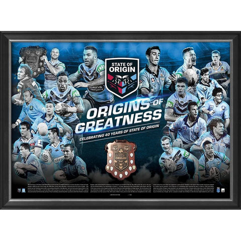 New South Wales Blues Origins of Greatness Official NRL Print Framed - 4457