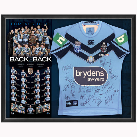 New South Wales Signed 2019 Back to Back Official State of Origin Jersey Framed - 3966