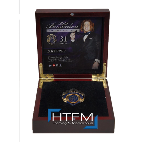 Nat Fyfe 2015 Brownlow Official AFL Replica Medal in Wooden Box Limited Edition -2681