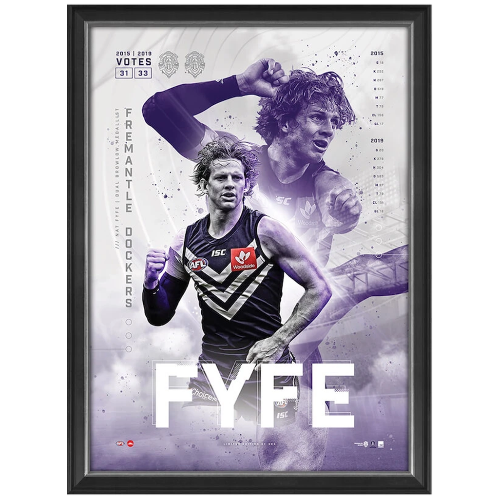Nat Fyfe 2019 Official AFL Fremantle Dockers Brownlow Medal Sportsprint Framed - 3783