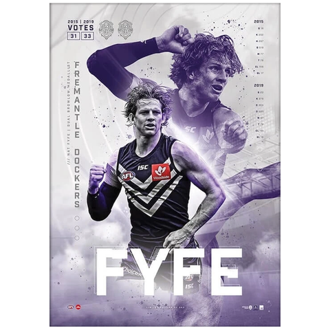 Nat Fyfe 2019 Official AFL Fremantle Dockers Brownlow Medal Sportsprint Only - 3804