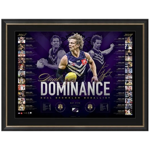 Nat Fyfe Signed Fremantle Dockers 2019 Official AFL Brownlow Medal Lithograph Framed  - 3782 FREE SHIPPING