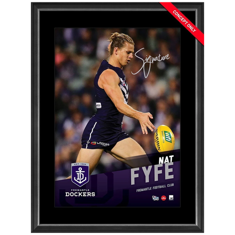 Nat Fyfe Signed Fremantle Dockers Official AFL Vertiramic Print Framed AFLPA - 3130
