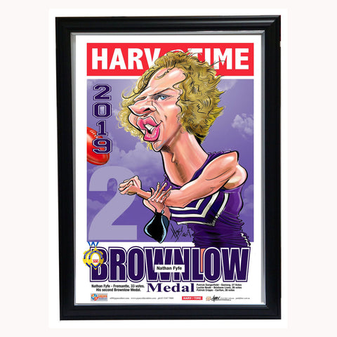 Nat Fyfe 2019 Fremantle Brownlow Medal Harv Time Limited Edition Print Framed - 3794