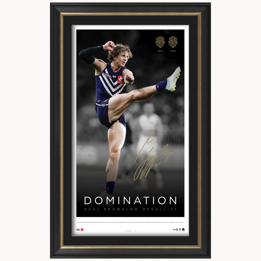 Nat Fyfe Signed 2019 Brownlow Medal Icon Series Fremantle Dockers Lithograph Framed - 3844