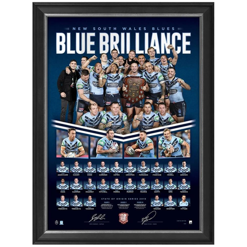 New South Wales 2019 State of Origin Champions Signed Print Framed Cordner & Fitler - 3762