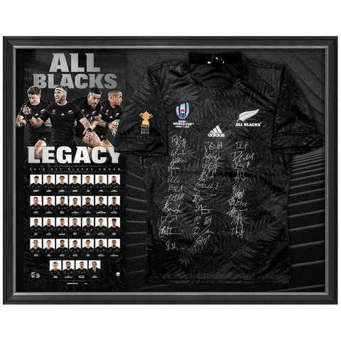 New Zealand All Blacks Signed 2019 World Cup Official Nzru Team Jersey Framed - 3881