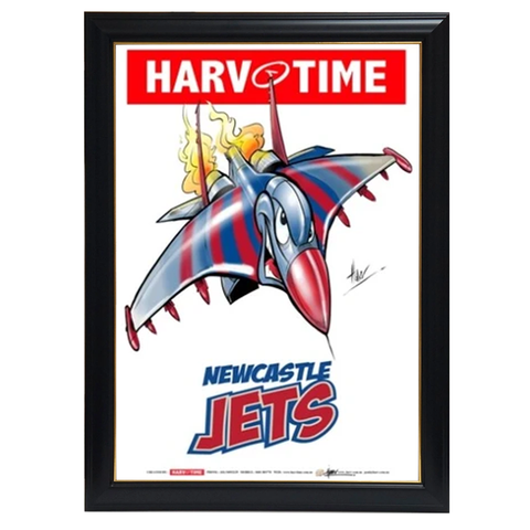 Newcastle Jets, A-League Mascot Harv Time Print Framed - 4190