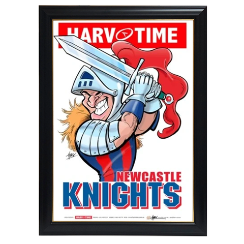 Newcastle Knights, NRL Mascot Print Harv Time Print Framed - 4154