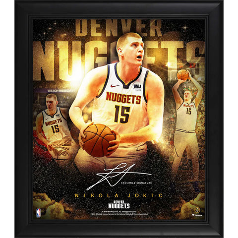 "Nikola Jokic Denver Nuggets Framed 15"" x 17"" Stars of the Game Collage - Facsimile Signature Official Fanatics - 4614"