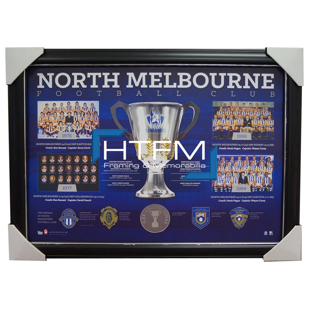 North Melbourne Historical Series Premiership AFL Licensed Print Framed Carey - 1897