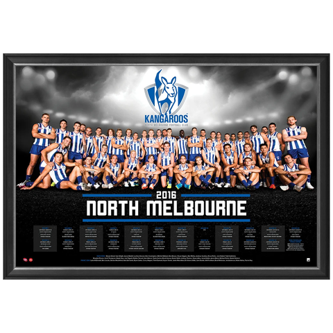 North Melbourne Kangaroos 2016 Official AFL Team Print Framed Andrew Swallow Brent Harvey - 2729