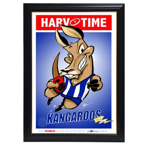 North Melbourne Kangaroos, Mascot Harv Time Print Framed - 4223