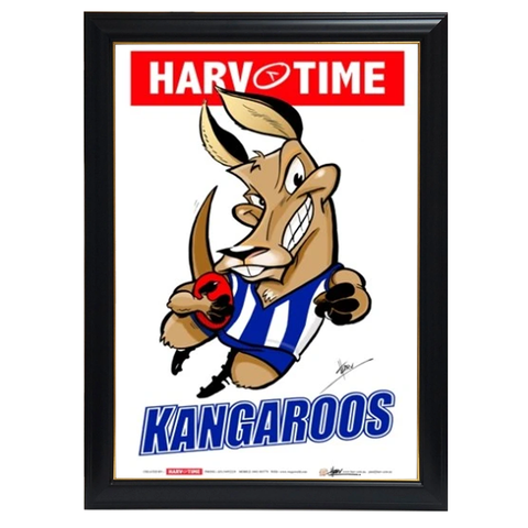 North Melbourne Kangaroos, Mascot Print Harv Time Print Framed - 4169
