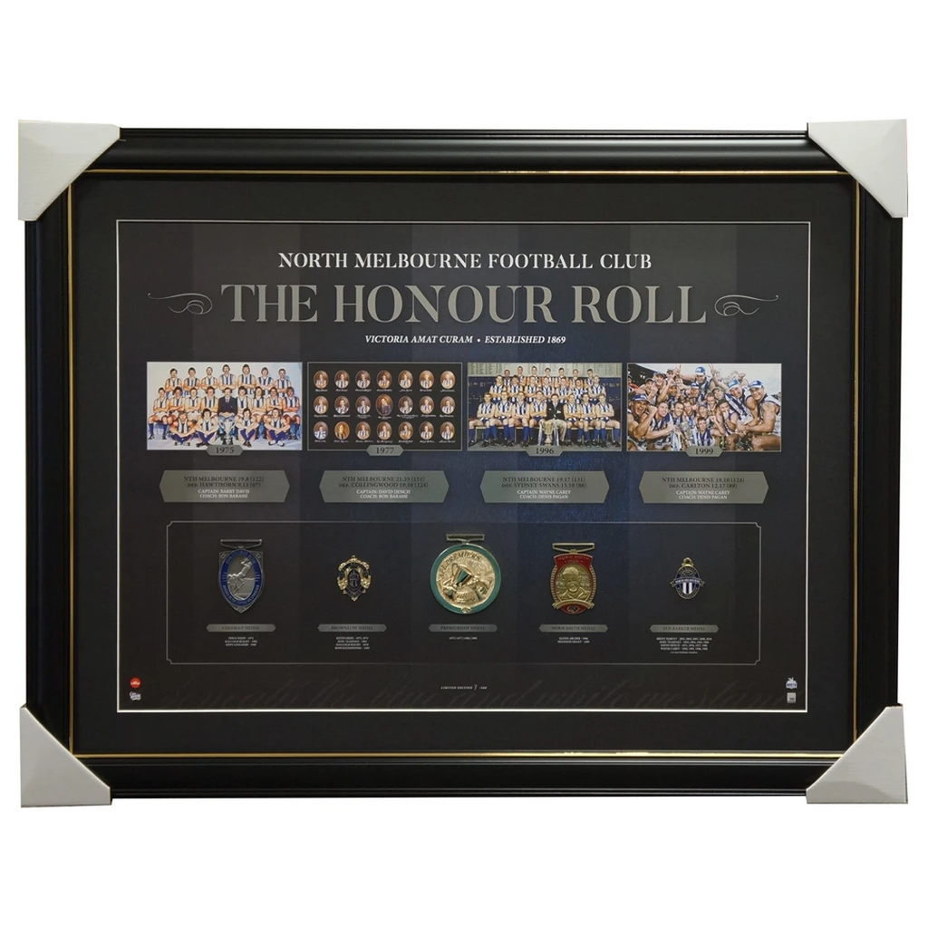 North Melbourne Vfl/afl Premiers Honour Roll With Medallions Print Framed - 3012