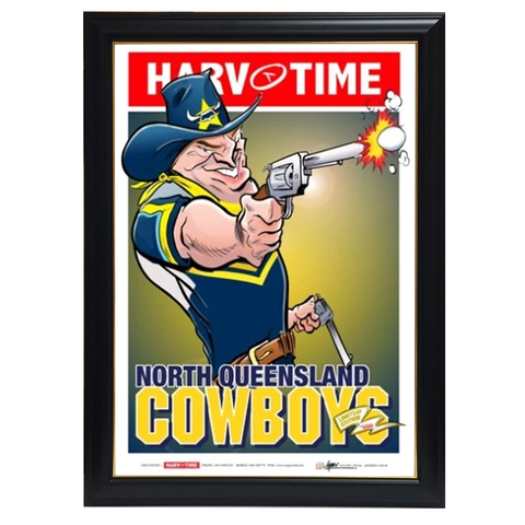 North Queensland Cowboys, Nrl Mascot Harv Time Print Framed - 4193