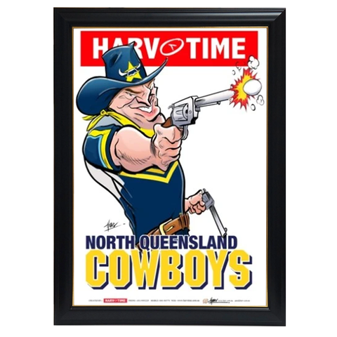 North Queensland Cowboys, Nrl Mascot Print Harv Time Print Framed - 4153