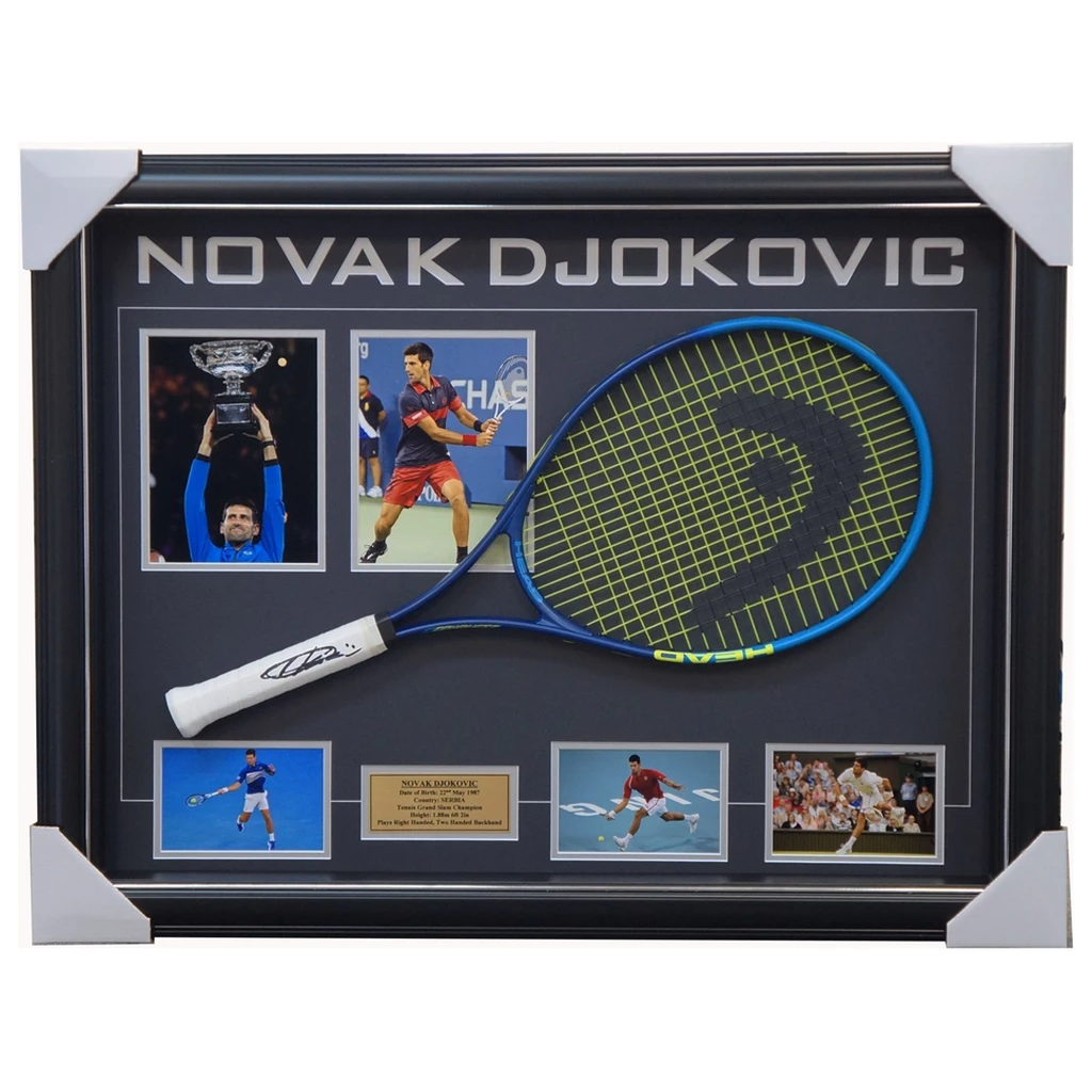 Novak Djokovic Grand Slam Champion Signed Tennis Racket with Photos Framed + COA - 2653