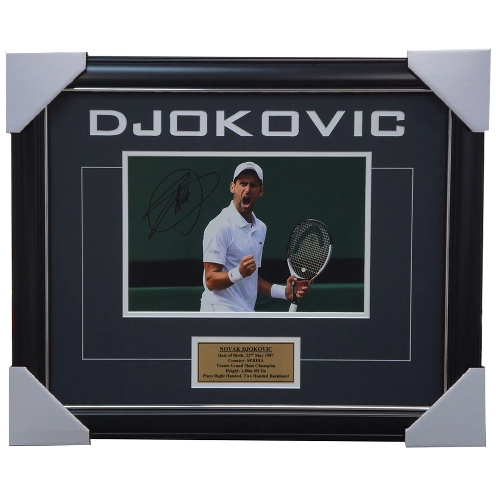 Novak Djokovic Signed Tennis Photo Framed + Plaque Australia Open Champion + Coa - 2253