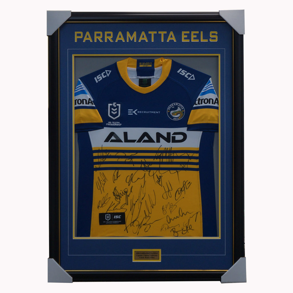 Parramatta Eels 2020 Signed Official NRL Team Jersey Framed Moses Gutherson - 4438 1 LEFT