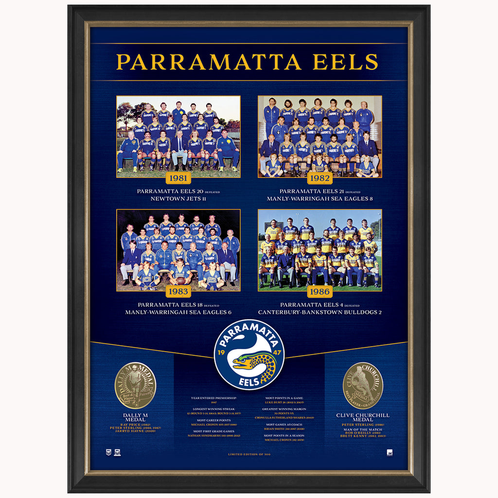 Parramatta Eels The Historical Series Montage Print Framed OFFICIAL NRL - 1842