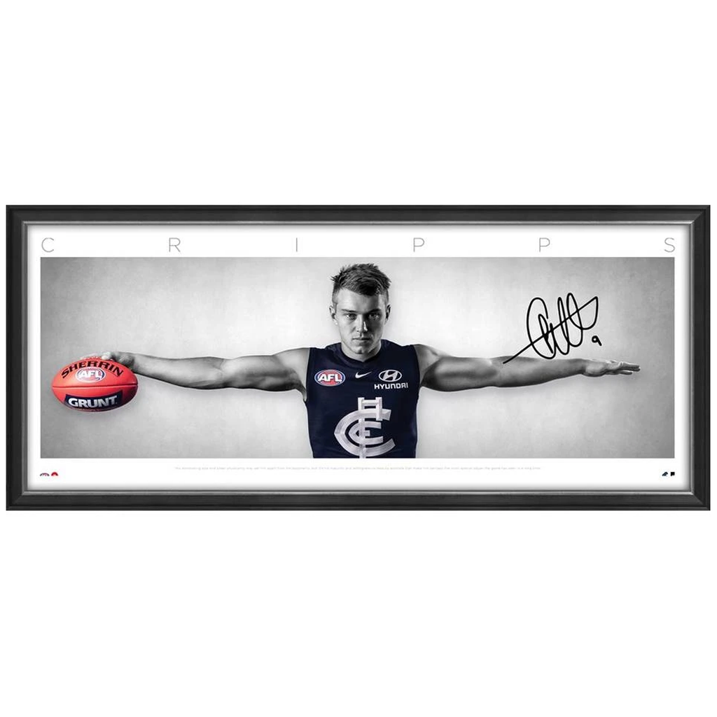 Patrick Cripps Hand Signed Carlton F.C. Wings L/E Official AFL Print Framed IN STOCK NOW - 3722