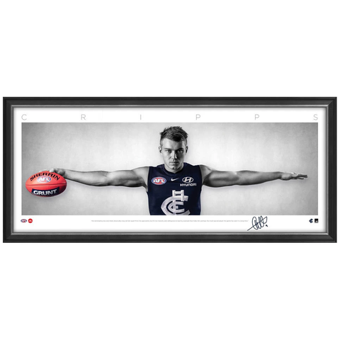 Patrick Cripps Signed Carlton Mini Wings Official Afl Print Framed New - 3750