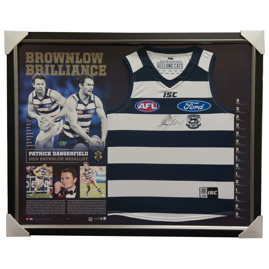 Patrick Dangerfield Signed 2016 Brownlow Medallist AFL Jumper Framed 35 Votes - 2945