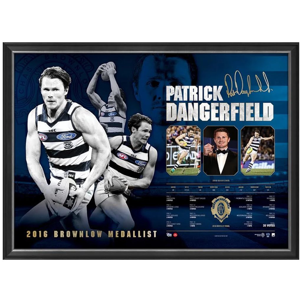 Patrick Dangerfield Signed 2016 Brownlow Medallist Geelong Print Framed 35 Votes - 2944