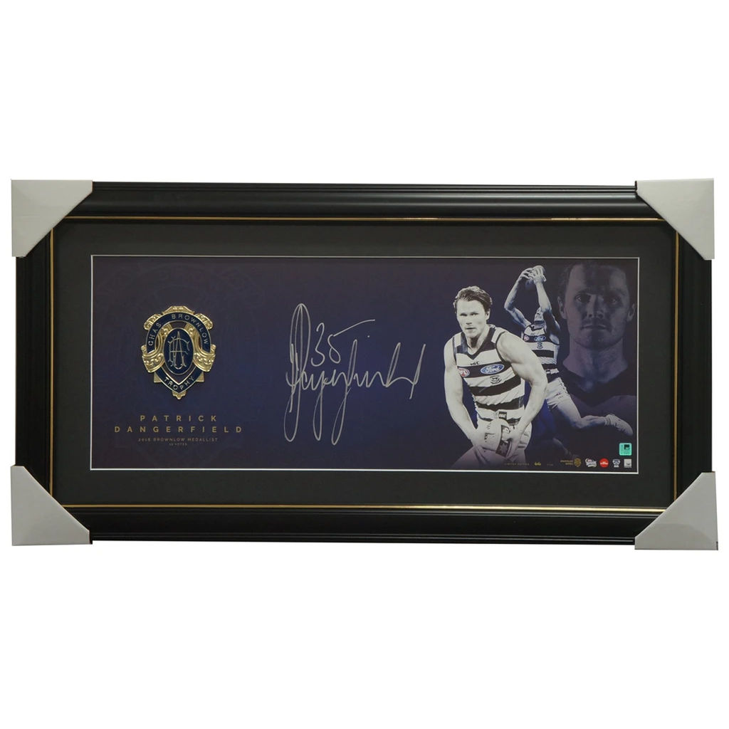 Patrick Dangerfield Signed 2016 Brownlow Medallist OFFICIAL AFL Panograph Framed - 2947