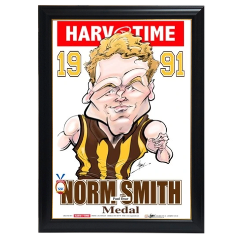 Paul Dear, 1991 Norm Smith Medal, Harv Time Print Framed - 4233