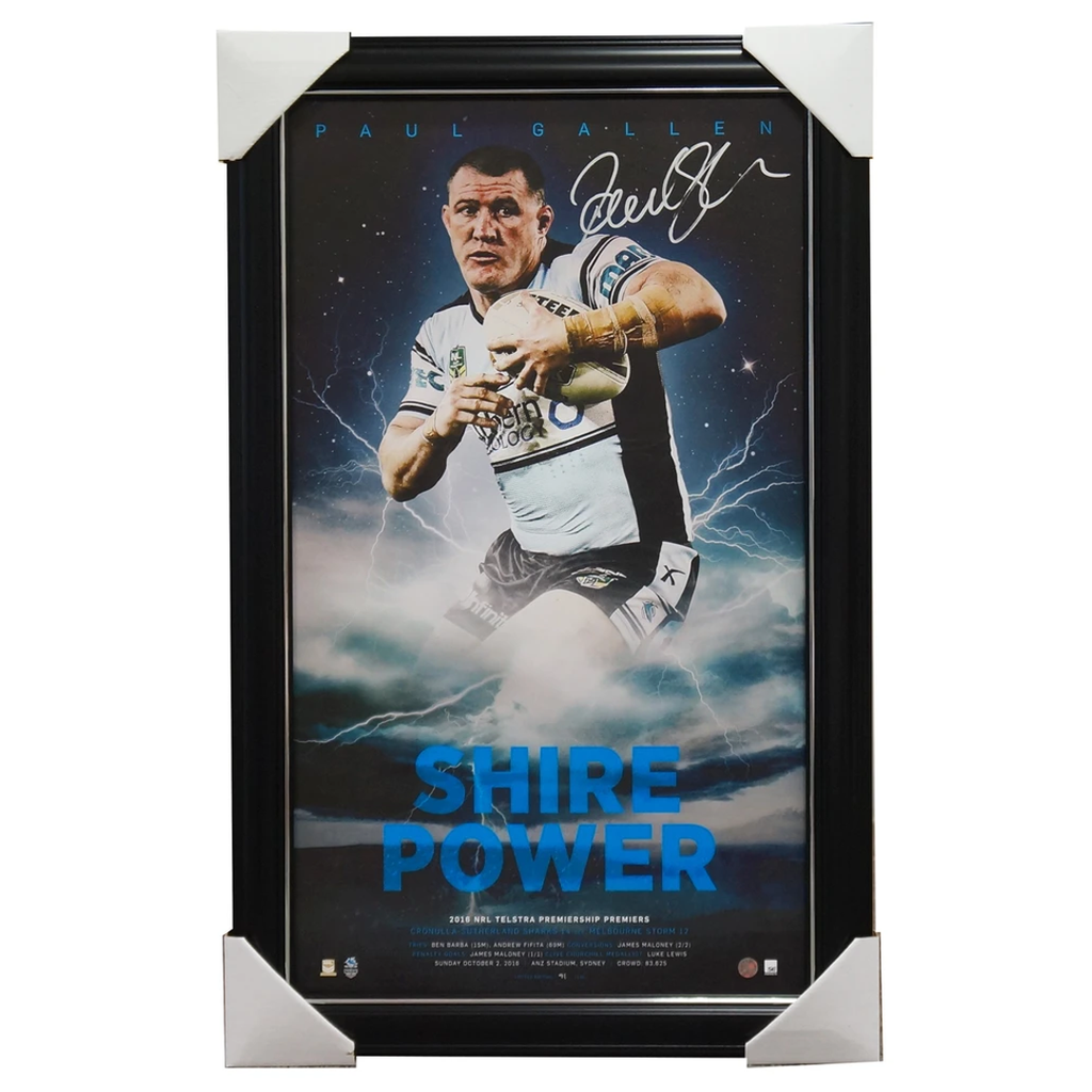 Paul Gallen Signed 2016 NRL Premiers Cronulla Sharks Signed Lithograph Framed Shire Power - 2969