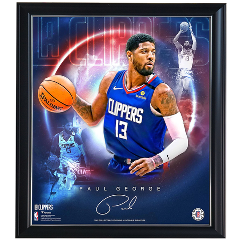 Paul George LA Clippers Facsimile Signed Official NBA Print Framed - 4413