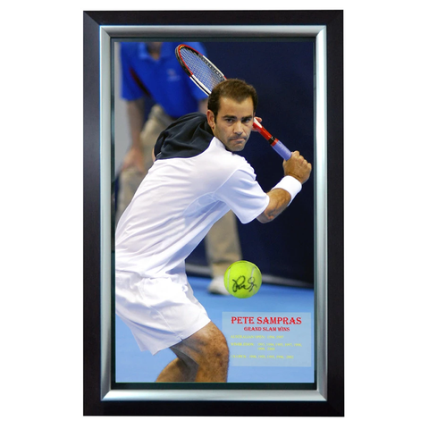 Pete Sampras Signed Ball and Print L/E to 100 ONLY Framed - 1152