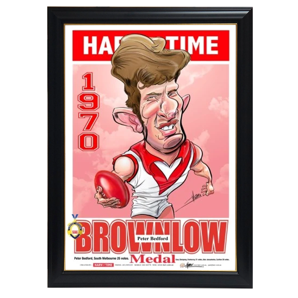 Peter Bedford, 1970 Brownlow, Harv Time Print Framed - 4231