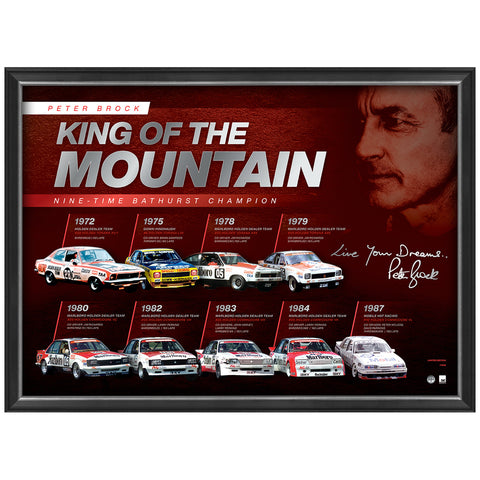 Peter Brock Signed Official Print Framed 9 X Bathurst Champion King of the Mountain - 4545