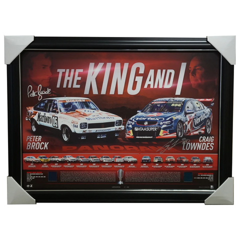 Peter Brock The King & I Signed Craig Lowndes V8 Racing Tribute Frame Bathurst - 2988