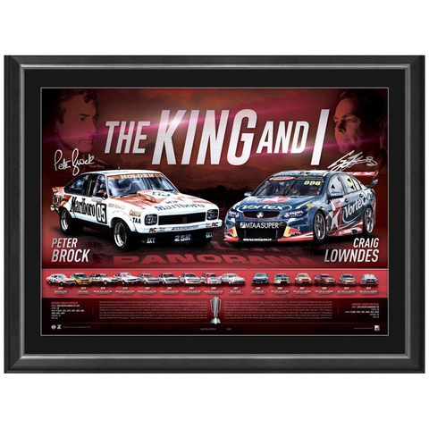 "Peter Brock & Craig Lowndes Signed ""the King & I"" V8 Racing Official Print Framed - 2760"