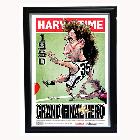Peter Daicos 1990 Grand Final Hero Original Collingwood Magpies Premiers, Harv Time Print Framed - 4555