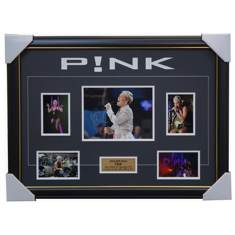 Pink Alecia Beth Moore Signed Photo Collage Framed + Coa - 3249