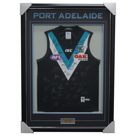 Port Adelaide 2018 Signed Official AFL Team Jumper Framed Boak Wines Watts + COA - 3406