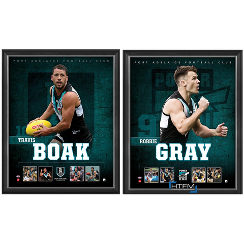 Port Adelaide Package Official Licensed AFL Prints Framed Boak Gray - 4449