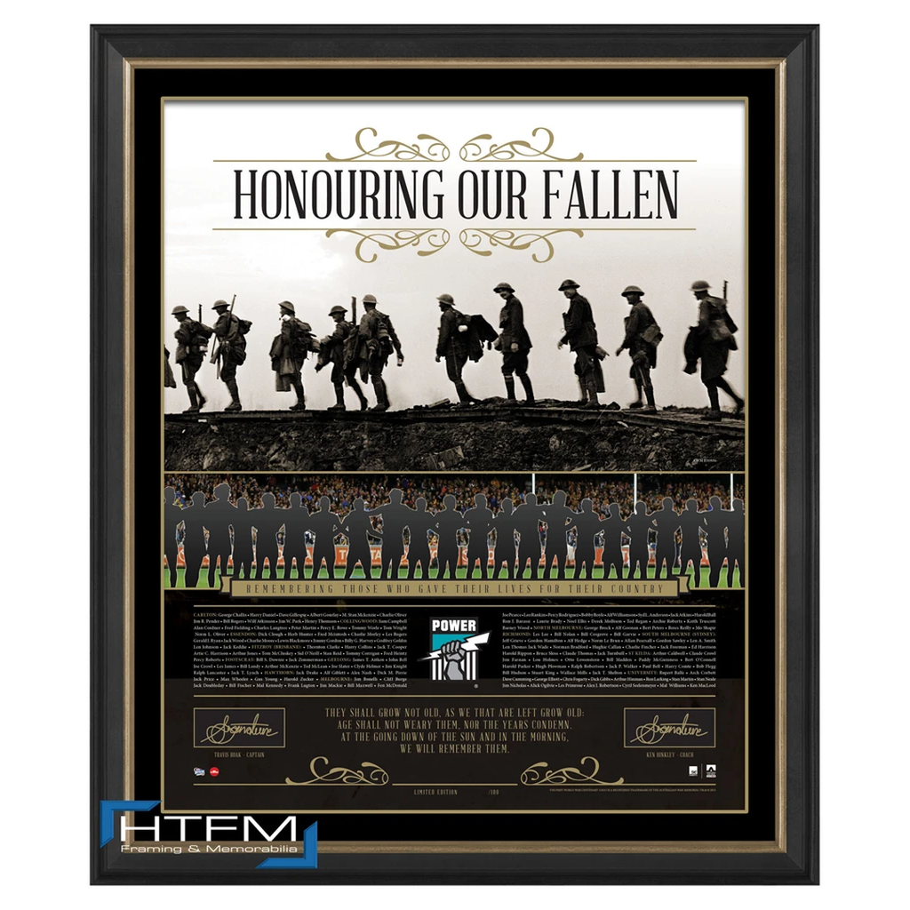 Port Adelaide Honouring Our Fallen Anzac Signed Afl Print Framed Boak & Hinkley - 1081
