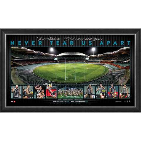 Port Adelaide 2020 Showdown Official Afl Panoramic Print Framed 150 Years - 4458