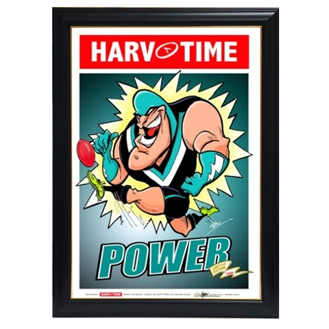 Port Adelaide Power, Mascot Harv Time Print Framed - 4221
